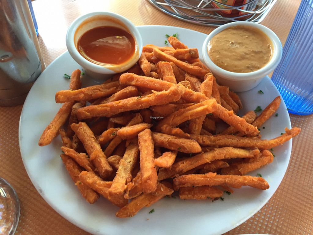 """Photo of Saturn Cafe  by <a href=""""/members/profile/Arvid"""">Arvid</a> <br/>Sweet potato fries with Buffalo (left) and Chipotle (right) sauce <br/> July 25, 2016  - <a href='/contact/abuse/image/1550/162194'>Report</a>"""