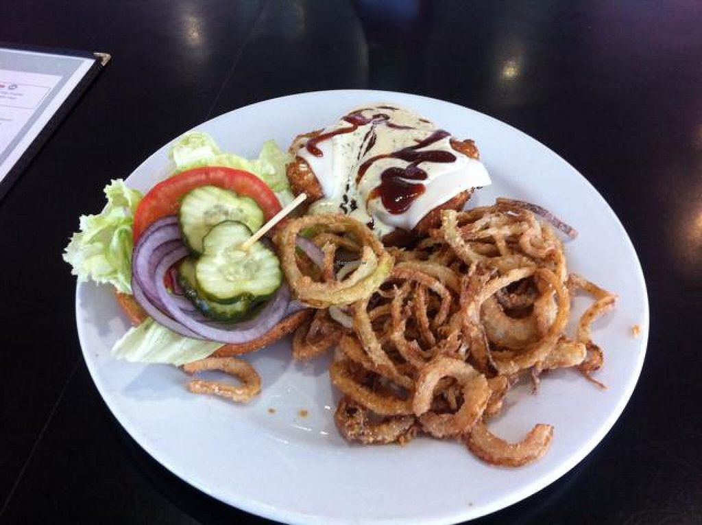 """Photo of Saturn Cafe  by <a href=""""/members/profile/H"""">H</a> <br/>vegan BBQ ranch chicken burger with onion strings <br/> April 14, 2014  - <a href='/contact/abuse/image/1550/67627'>Report</a>"""