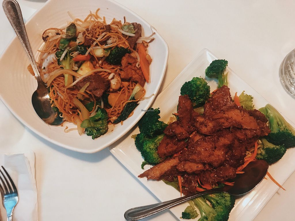 """Photo of Golden Era Vegan Restaurant  by <a href=""""/members/profile/bbaussie"""">bbaussie</a> <br/>Chow Mein and Lemongrass Delight <br/> August 22, 2017  - <a href='/contact/abuse/image/1557/295451'>Report</a>"""