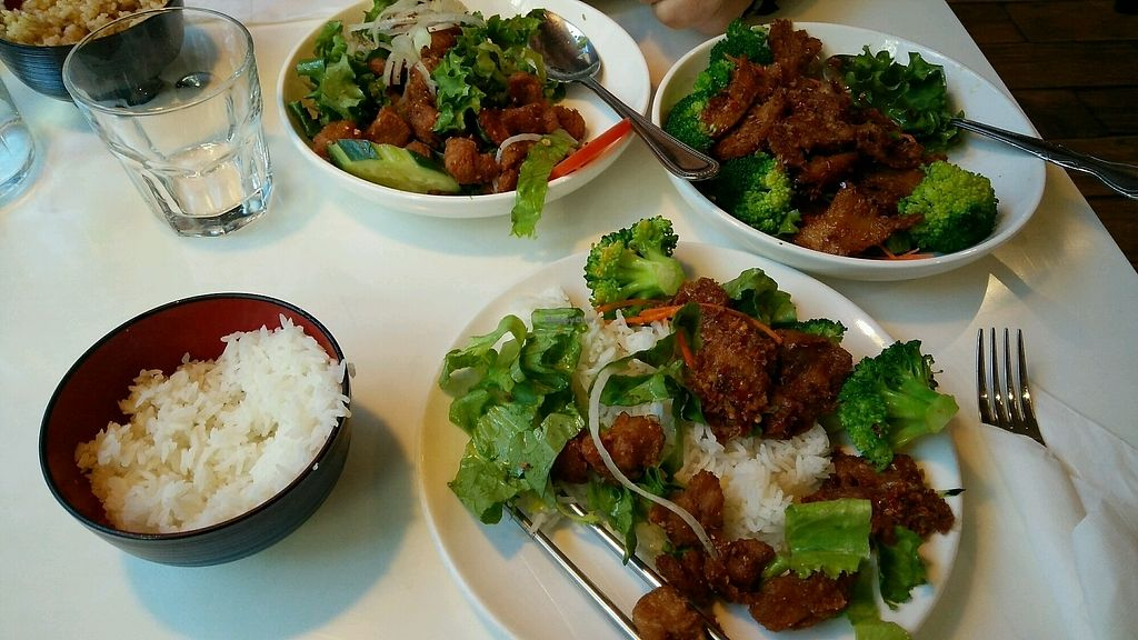 """Photo of Golden Era Vegan Restaurant  by <a href=""""/members/profile/Laxsill"""">Laxsill</a> <br/>Two of the specials, the Lemongrass deluxe and something else <br/> November 29, 2017  - <a href='/contact/abuse/image/1557/330616'>Report</a>"""