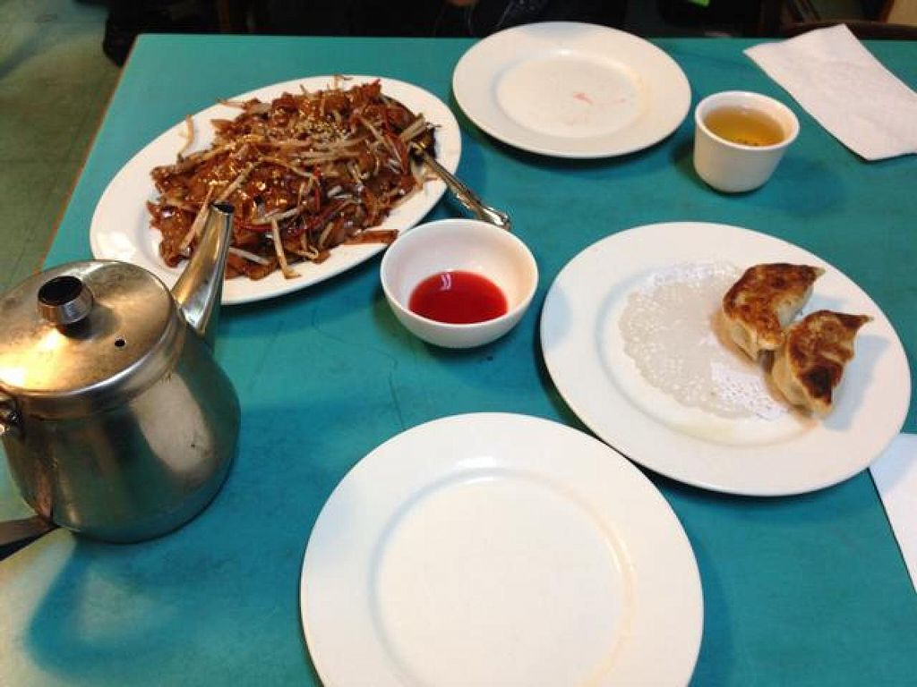 """Photo of Lucky Creation Vegetarian  by <a href=""""/members/profile/AshleyLorden"""">AshleyLorden</a> <br/>tea, potstickers, chow fun <br/> August 23, 2014  - <a href='/contact/abuse/image/1563/77993'>Report</a>"""