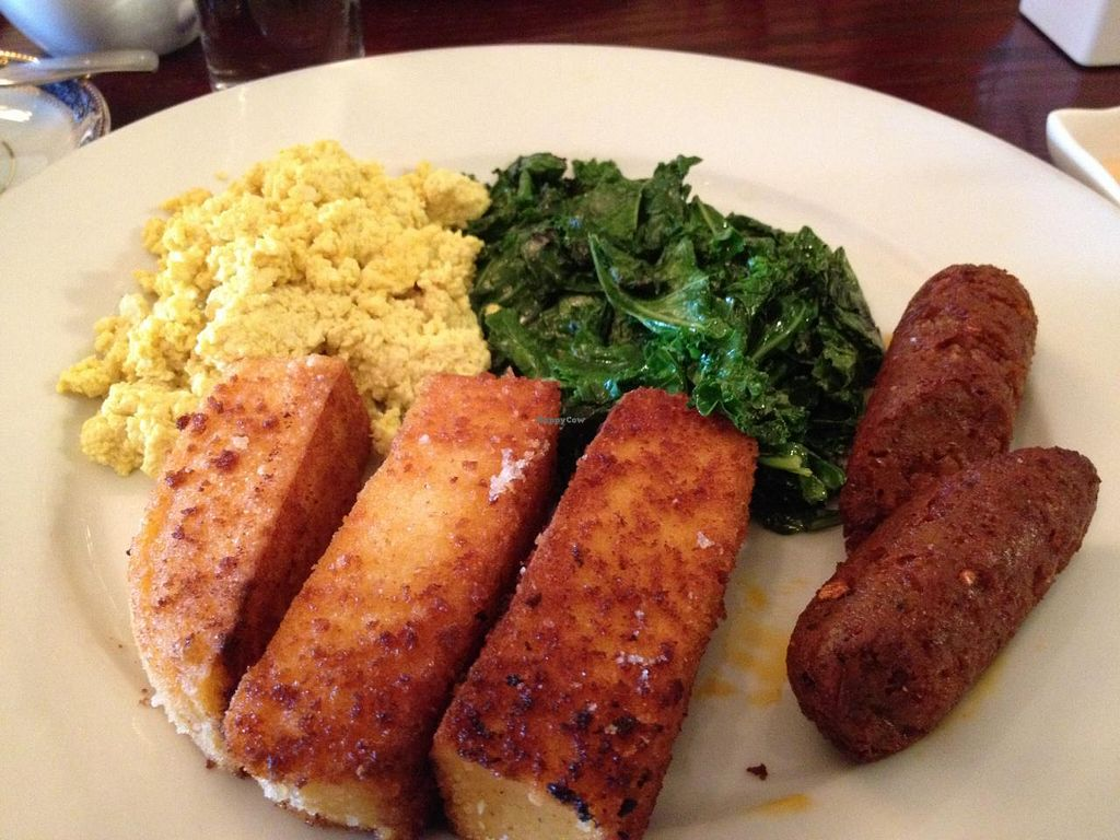 "Photo of Mi Lah Vegetarian  by <a href=""/members/profile/voivoed"">voivoed</a> <br/>Spanish breakfast with polenta, tofu scramble and greens <br/> May 10, 2015  - <a href='/contact/abuse/image/15644/101814'>Report</a>"