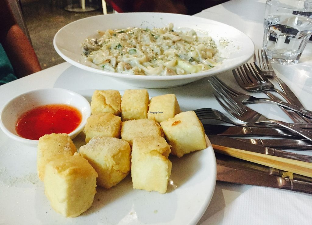 """Photo of Loving Hut  by <a href=""""/members/profile/karlaess"""">karlaess</a> <br/>Salt and pepper tofu, mushroom carbonara  <br/> May 14, 2016  - <a href='/contact/abuse/image/15666/148920'>Report</a>"""