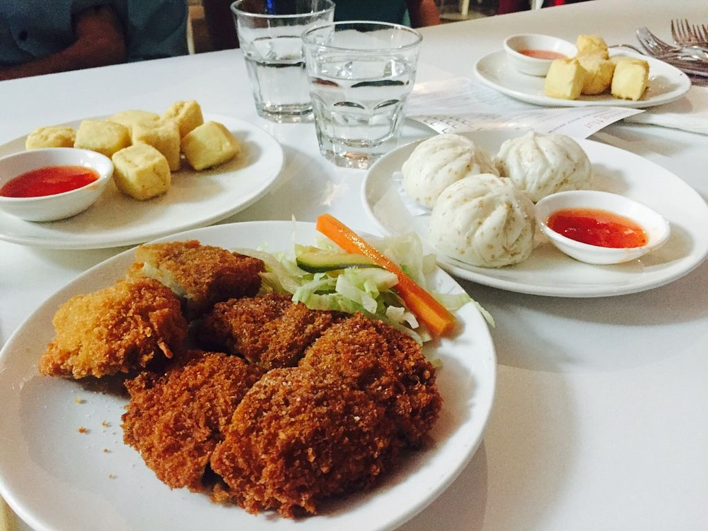 """Photo of Loving Hut  by <a href=""""/members/profile/karlaess"""">karlaess</a> <br/>Fried mushrooms and Barbeque Buns <br/> May 14, 2016  - <a href='/contact/abuse/image/15666/148921'>Report</a>"""