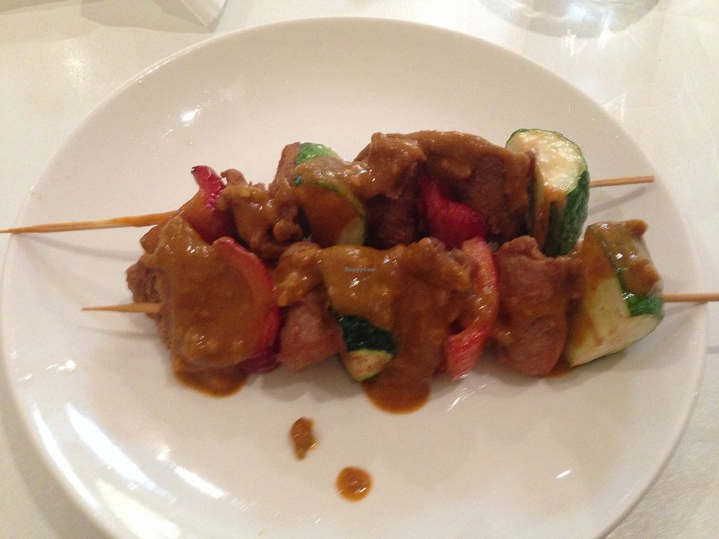 """Photo of Loving Hut  by <a href=""""/members/profile/NirvanaRoseWilliams"""">NirvanaRoseWilliams</a> <br/>'Chicken' satay sticks  <br/> May 23, 2016  - <a href='/contact/abuse/image/15666/150422'>Report</a>"""