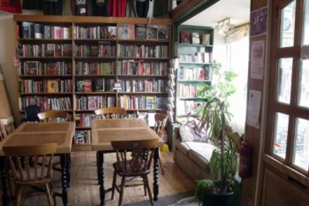 """Photo of The Cowley Club  by <a href=""""/members/profile/poisongrrrl"""">poisongrrrl</a> <br/>Seating area in front with the bookshop - numerous radical titles including a WHOLE SECTION on veganism / animal rights! <br/> June 4, 2015  - <a href='/contact/abuse/image/15683/104764'>Report</a>"""