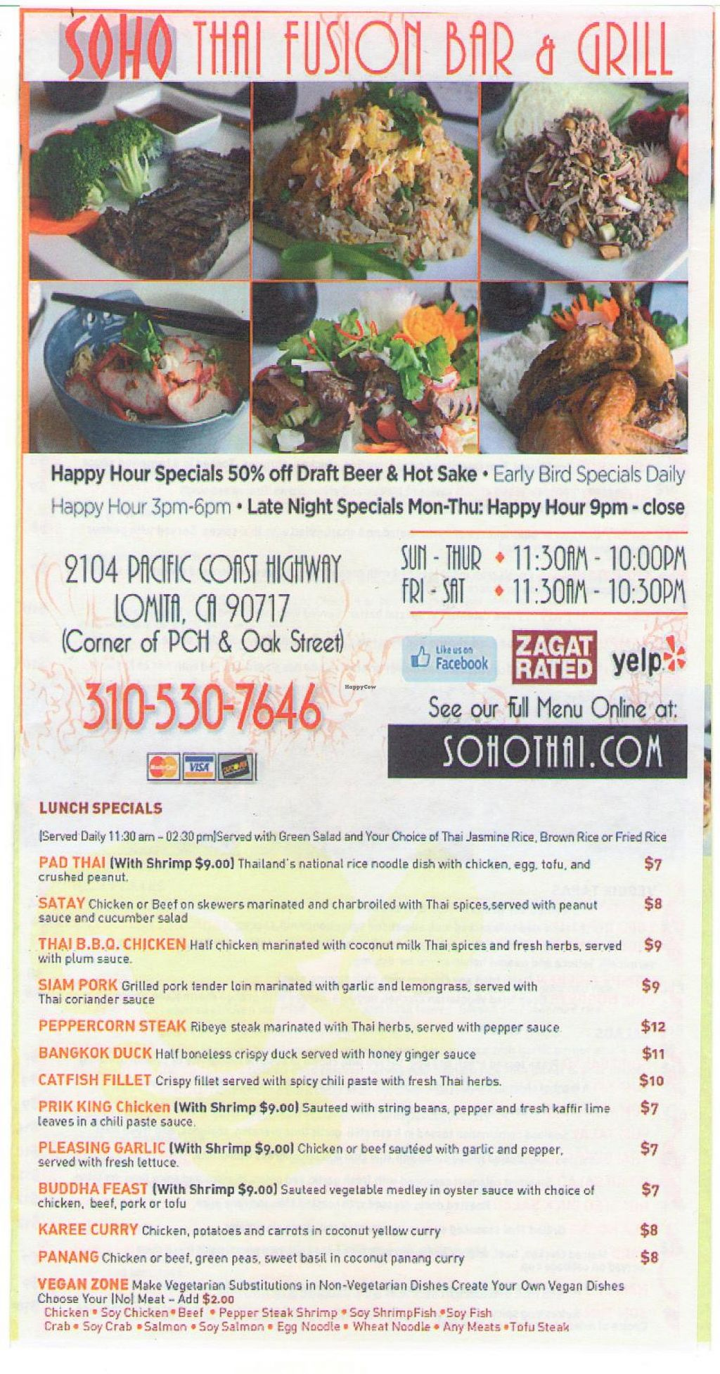 """Photo of CLOSED: Soho Thai Fusion Bar and Grill  by <a href=""""/members/profile/sohothai"""">sohothai</a> <br/>Menu <br/> September 21, 2015  - <a href='/contact/abuse/image/15701/118679'>Report</a>"""