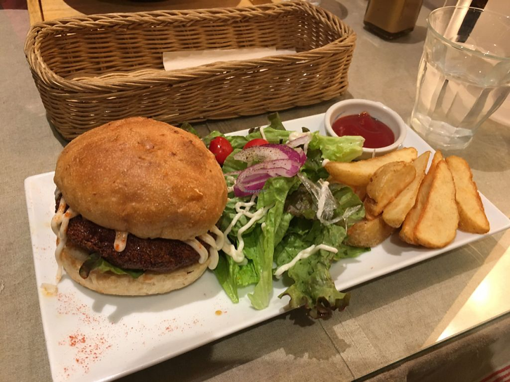 """Photo of Mumokuteki Cafe and Foods  by <a href=""""/members/profile/Kerouac32"""">Kerouac32</a> <br/>Tofu Burger Set with salad and fried potatoes  <br/> May 21, 2017  - <a href='/contact/abuse/image/15812/260940'>Report</a>"""