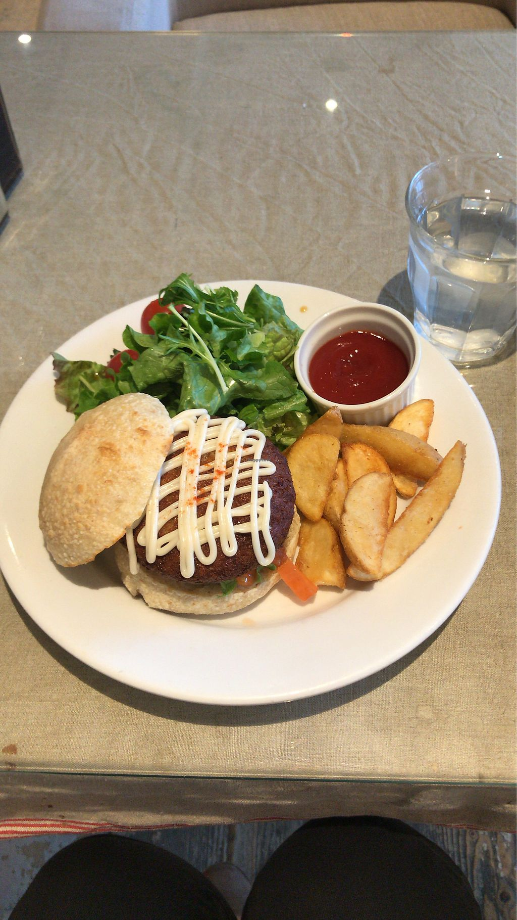 """Photo of Mumokuteki Cafe and Foods  by <a href=""""/members/profile/MelissaW"""">MelissaW</a> <br/>Tofu burger with chips  <br/> February 4, 2018  - <a href='/contact/abuse/image/15812/354818'>Report</a>"""