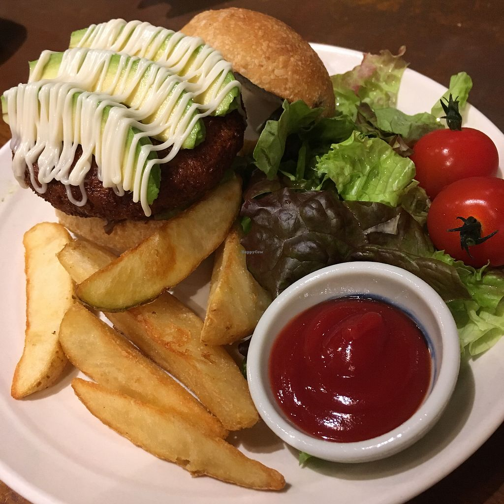 """Photo of Mumokuteki Cafe and Foods  by <a href=""""/members/profile/AndreaSuleiman"""">AndreaSuleiman</a> <br/>Avocado Burger <br/> May 7, 2018  - <a href='/contact/abuse/image/15812/396482'>Report</a>"""