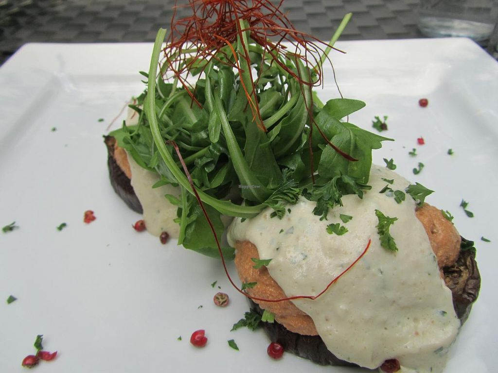 """Photo of CLOSED: La Mano Verde  by <a href=""""/members/profile/CLRtraveller"""">CLRtraveller</a> <br/>baked eggplant rounds topped with tofu Bolognese, cashew crème, on bed of greens <br/> December 29, 2013  - <a href='/contact/abuse/image/15835/61232'>Report</a>"""