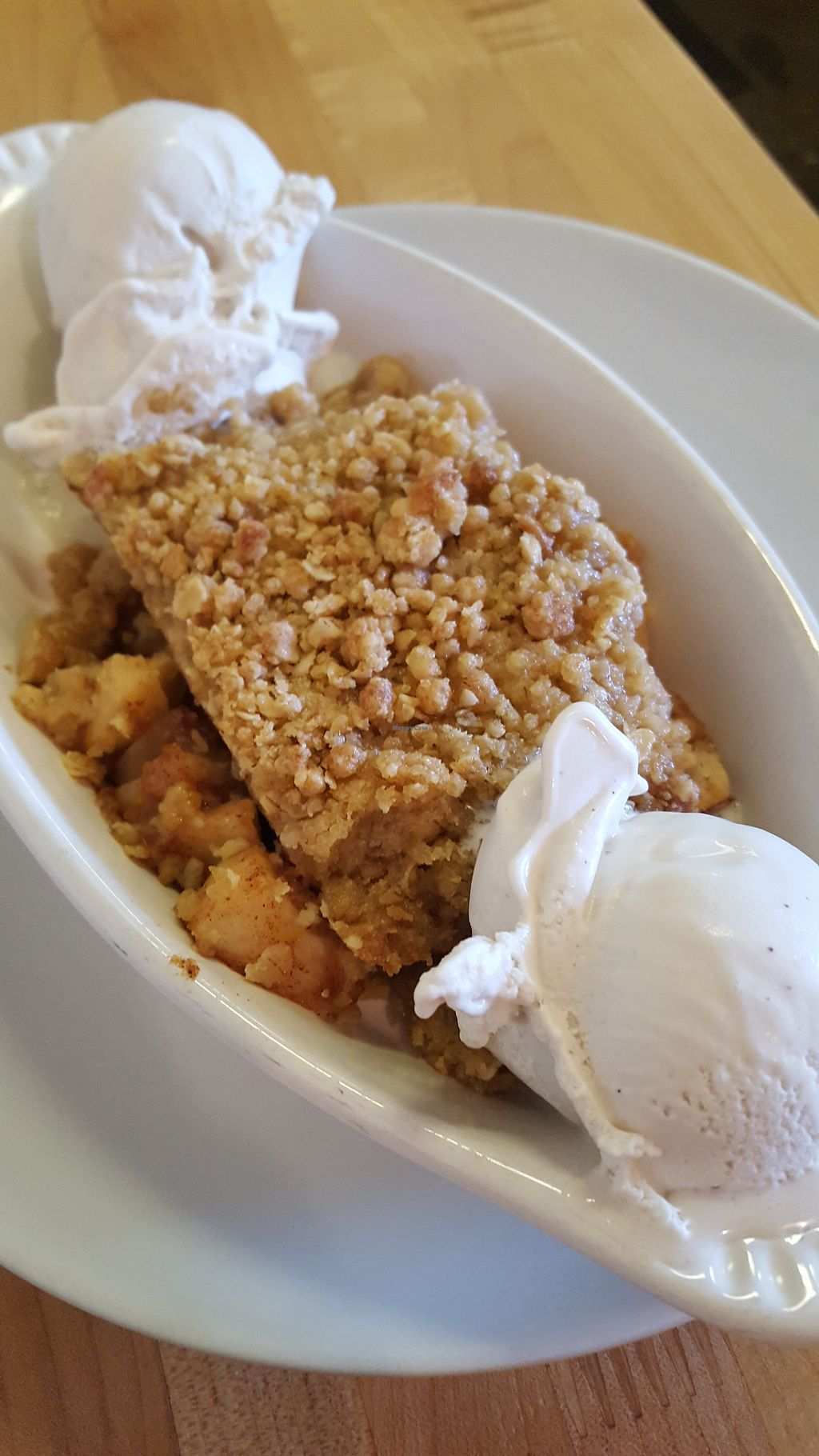 """Photo of Slice of Life  by <a href=""""/members/profile/VeganScientist"""">VeganScientist</a> <br/>Warm pear apple crisp with coconut ice cream <br/> April 22, 2018  - <a href='/contact/abuse/image/1583/389204'>Report</a>"""
