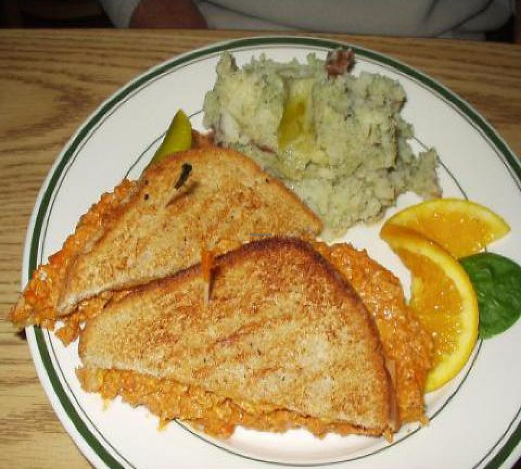 """Photo of Eden Vegan Cafe  by <a href=""""/members/profile/PennsyltuckyVeggie"""">PennsyltuckyVeggie</a> <br/>Tuna Melt and Smashed Potatoes <br/> October 27, 2011  - <a href='/contact/abuse/image/15842/188424'>Report</a>"""