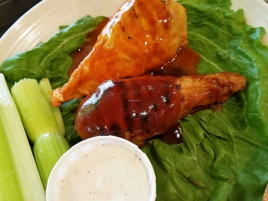 """Photo of Eden Vegan Cafe  by <a href=""""/members/profile/smilemicheez"""">smilemicheez</a> <br/>buffalo and bbq chicken <br/> March 17, 2018  - <a href='/contact/abuse/image/15842/371665'>Report</a>"""