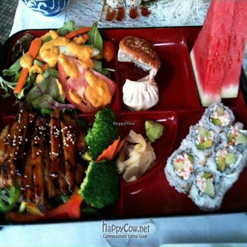 "Photo of CLOSED: Soy and Sake Village  by <a href=""/members/profile/BrienneAmber"">BrienneAmber</a> <br/>Bento Box: Teriyaki Soy Chicken option. Comes with miso soup, salad, gyoza, california rolls, and fruit. $12 <br/> July 23, 2009  - <a href='/contact/abuse/image/15880/2281'>Report</a>"