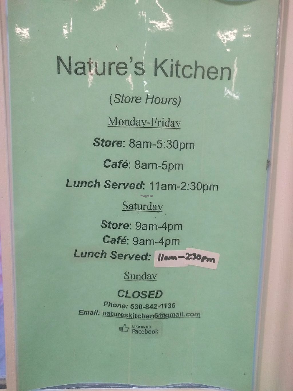 """Photo of Nature's Kitchen and Market  by <a href=""""/members/profile/arcataroger"""">arcataroger</a> <br/>Gift Shop & Cafe Hours <br/> March 31, 2017  - <a href='/contact/abuse/image/1598/242875'>Report</a>"""