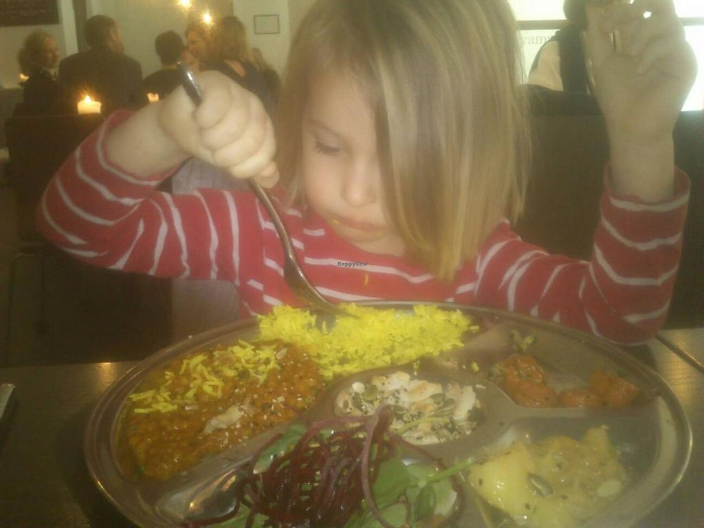 """Photo of Koloni Yogayama  by <a href=""""/members/profile/Kalla"""">Kalla</a> <br/>Sorry about the mobile phone pic quality. The dahl plate and a pleased customer here.  <br/> May 13, 2015  - <a href='/contact/abuse/image/16058/102081'>Report</a>"""