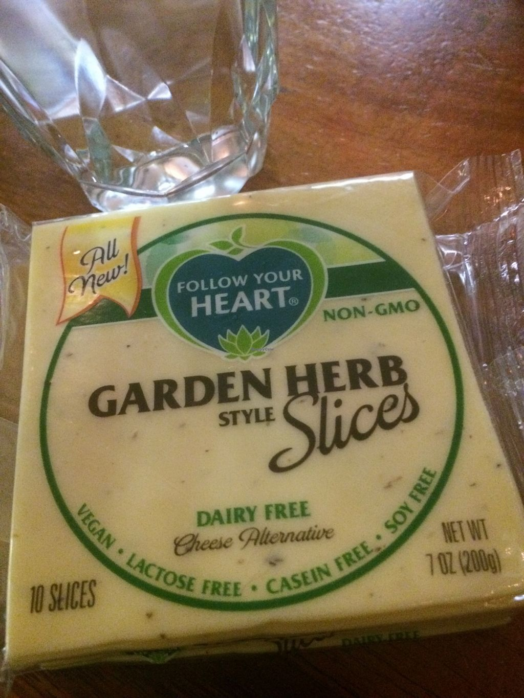 """Photo of Follow Your Heart Restaurant and Market  by <a href=""""/members/profile/serrarose"""">serrarose</a> <br/>My all time favourite cheese! The Provolone is the best flavour but I wanted to sample Garden Herb <br/> December 27, 2015  - <a href='/contact/abuse/image/1609/130040'>Report</a>"""