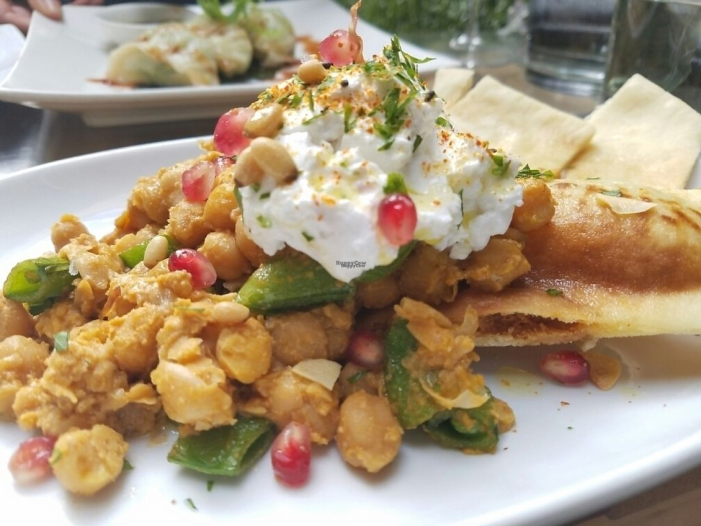 """Photo of Yulli's  by <a href=""""/members/profile/EverydayTastiness"""">EverydayTastiness</a> <br/>vegan chickpea and pita dish <br/> December 30, 2016  - <a href='/contact/abuse/image/16153/206304'>Report</a>"""