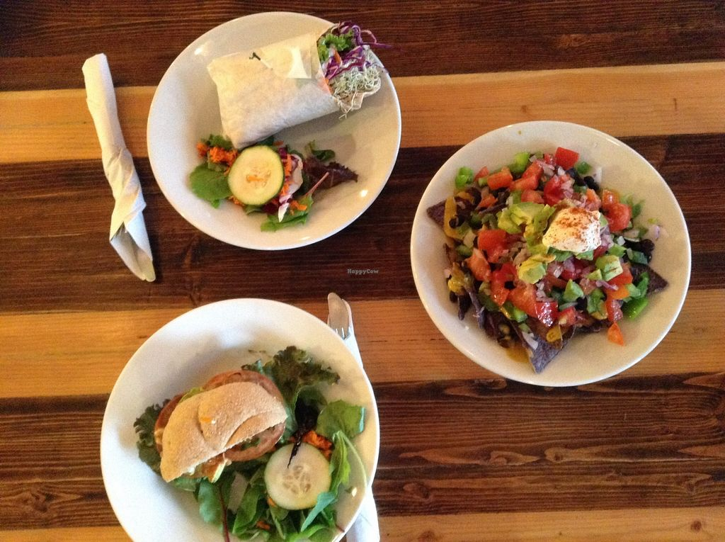 """Photo of Ginger's Garden Cafe  by <a href=""""/members/profile/VeronicaAragon"""">VeronicaAragon</a> <br/>My Vegan grilled Portobello Sandwhich, Vegan Nachos, and a turkey wrap.  <br/> October 22, 2015  - <a href='/contact/abuse/image/16225/122211'>Report</a>"""