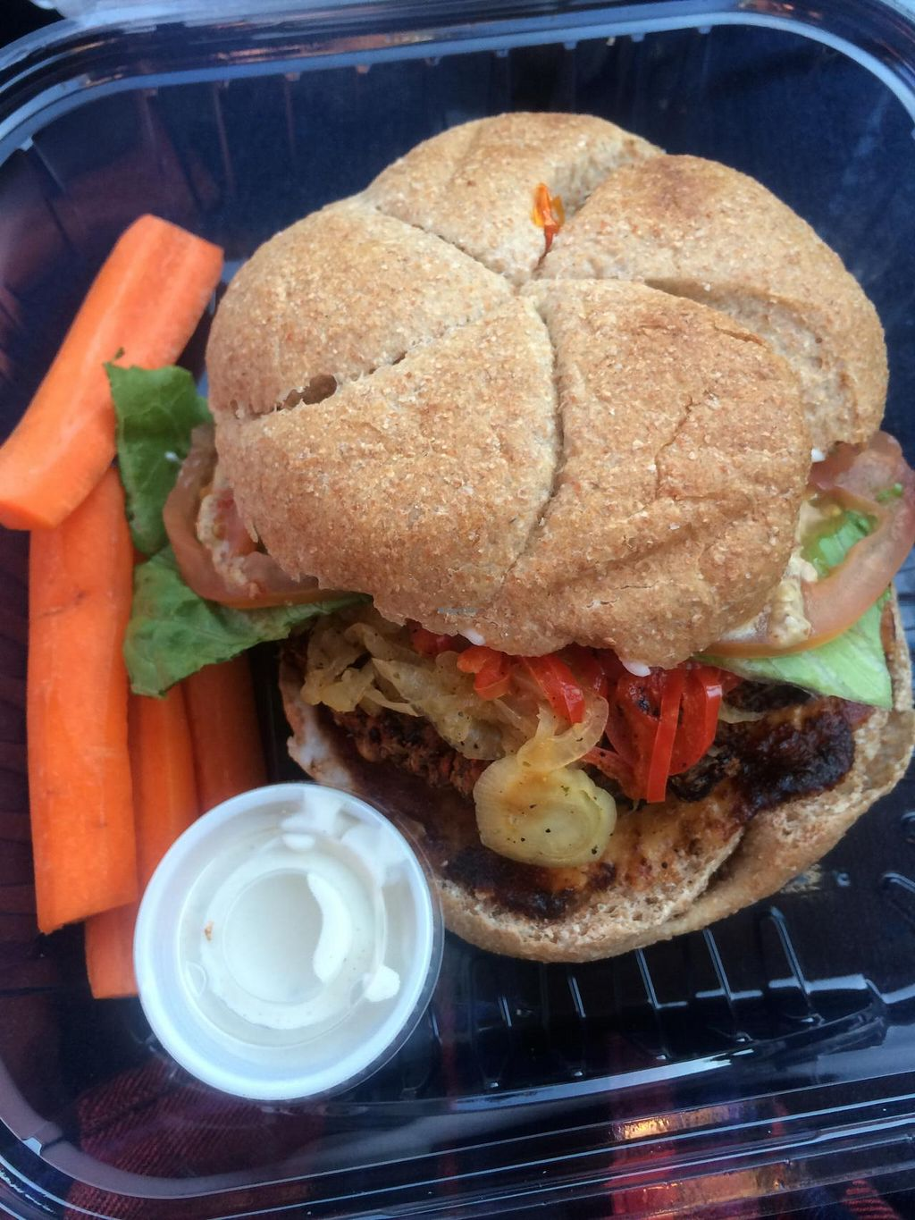 """Photo of Ginger's Garden Cafe  by <a href=""""/members/profile/Meggie%20and%20Ben"""">Meggie and Ben</a> <br/>Grilled portobello burger with sauteed onions and peppers, lettuce, tomato, avocado, mustard, and vegenaise <br/> September 27, 2014  - <a href='/contact/abuse/image/16225/81346'>Report</a>"""