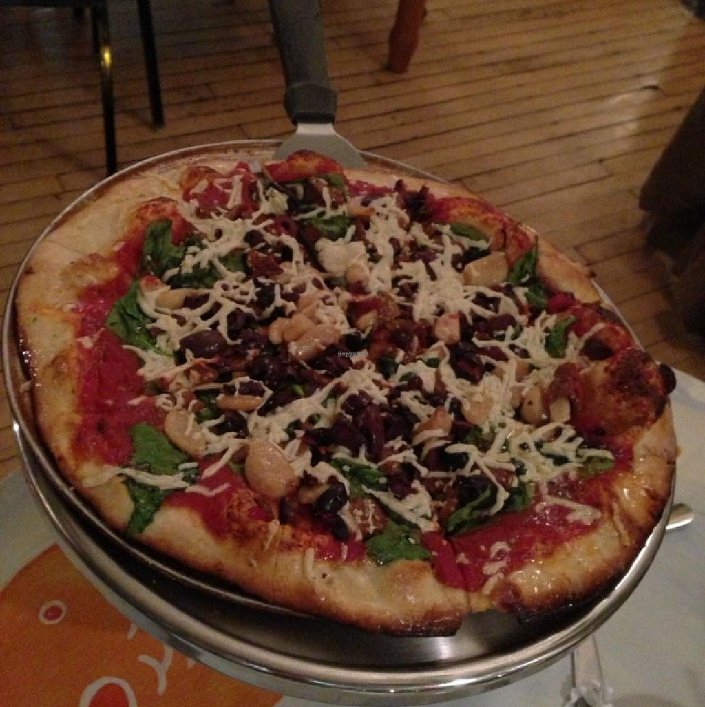 """Photo of Brick Road Pizza  by <a href=""""/members/profile/happycowgirl"""">happycowgirl</a> <br/>vegan pizza with spinach, garlic, kalamata olives <br/> January 28, 2015  - <a href='/contact/abuse/image/16302/91551'>Report</a>"""