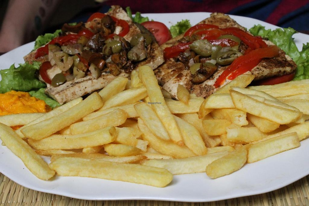 "Photo of Namaste  by <a href=""/members/profile/Maddita"">Maddita</a> <br/>Tofu biff with mushrooms and fries <br/> June 19, 2014  - <a href='/contact/abuse/image/16363/72303'>Report</a>"
