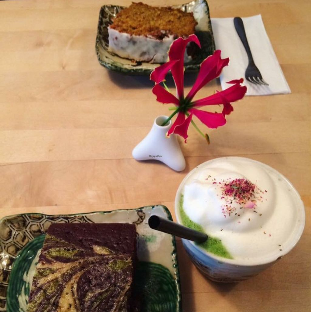 """Photo of Tushita Teehaus  by <a href=""""/members/profile/DollyWiggles"""">DollyWiggles</a> <br/>matcha brownie, matcha latte, and ginger carrot cake  <br/> April 28, 2016  - <a href='/contact/abuse/image/16425/146626'>Report</a>"""