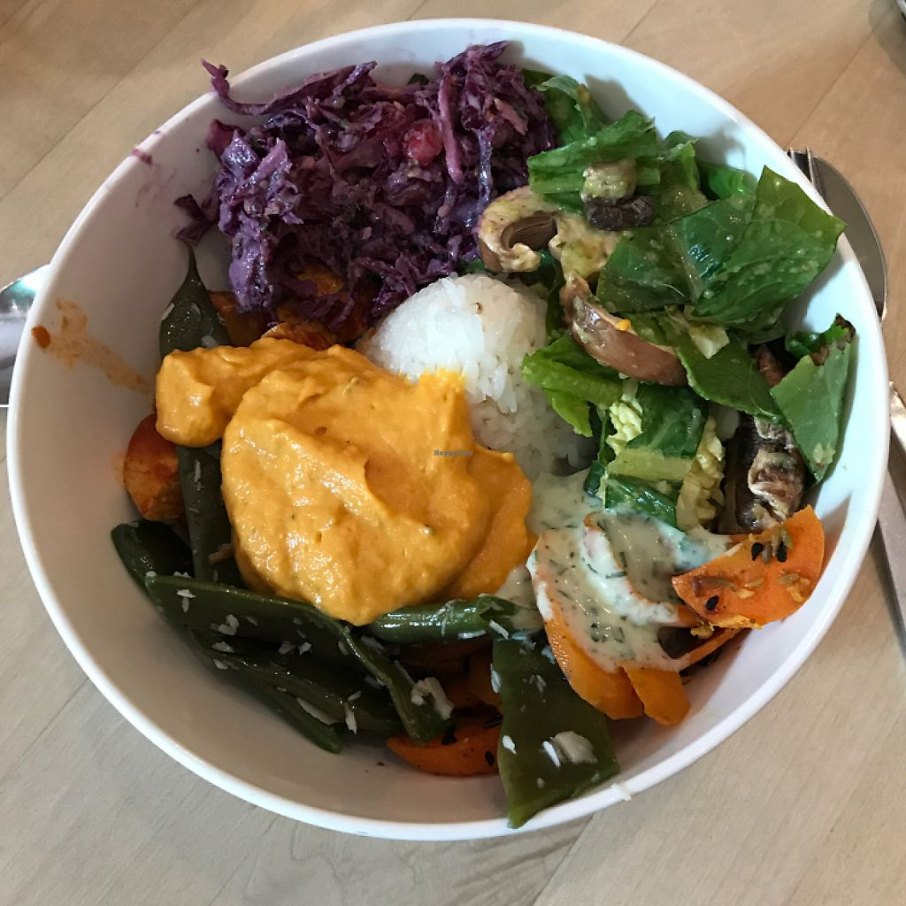 """Photo of Tushita Teehaus  by <a href=""""/members/profile/The%20London%20Vegan"""">The London Vegan</a> <br/>delicious Buddha bowl!  <br/> June 3, 2017  - <a href='/contact/abuse/image/16425/265382'>Report</a>"""
