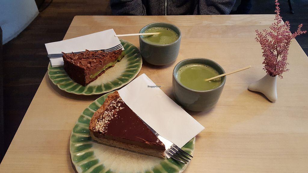 "Photo of Tushita Teehaus  by <a href=""/members/profile/Seiashun"">Seiashun</a> <br/>Chocolate avocado cake, hazelnut/almond cake, matcha lattes <br/> October 24, 2017  - <a href='/contact/abuse/image/16425/318284'>Report</a>"