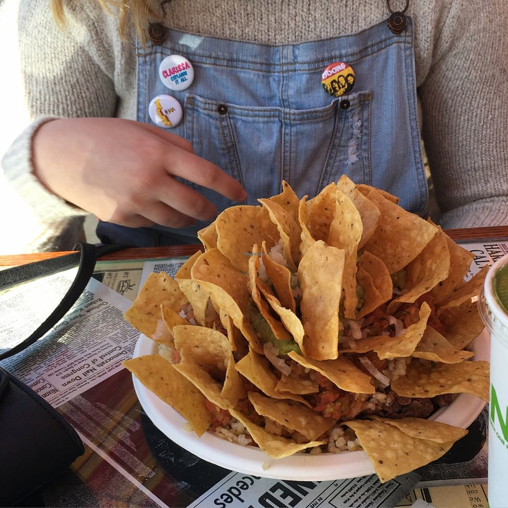 """Photo of The Stand  by <a href=""""/members/profile/Mandaoconnelll"""">Mandaoconnelll</a> <br/>a plate of brown rice, pinto beans, guacamole, and salad with chips <br/> December 19, 2015  - <a href='/contact/abuse/image/1645/129076'>Report</a>"""
