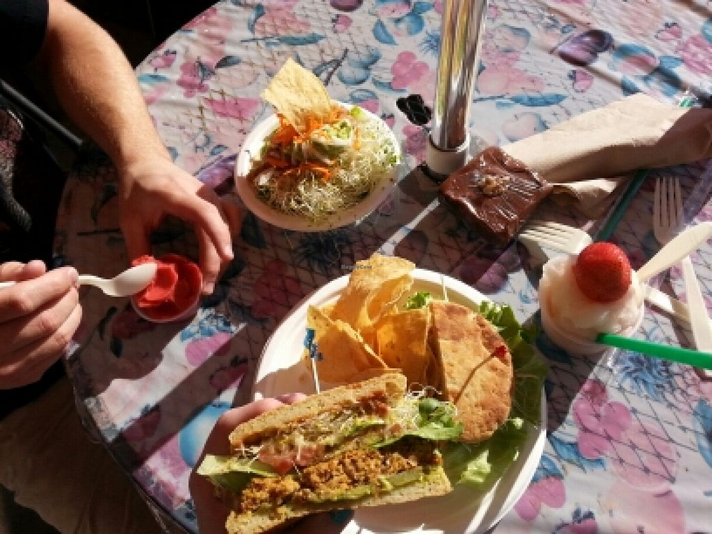 """Photo of The Stand  by <a href=""""/members/profile/earthlingcassie"""">earthlingcassie</a> <br/>taco bowl/gf veggie burger/soft serve <br/> January 25, 2016  - <a href='/contact/abuse/image/1645/133714'>Report</a>"""