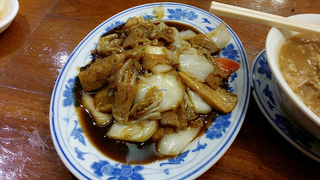 """Photo of Shanghai Yuen Vegetarian  by <a href=""""/members/profile/jungsiah"""">jungsiah</a> <br/>deep-fried 'pork' with vegetables and soybean sauce <br/> May 1, 2015  - <a href='/contact/abuse/image/16464/100860'>Report</a>"""