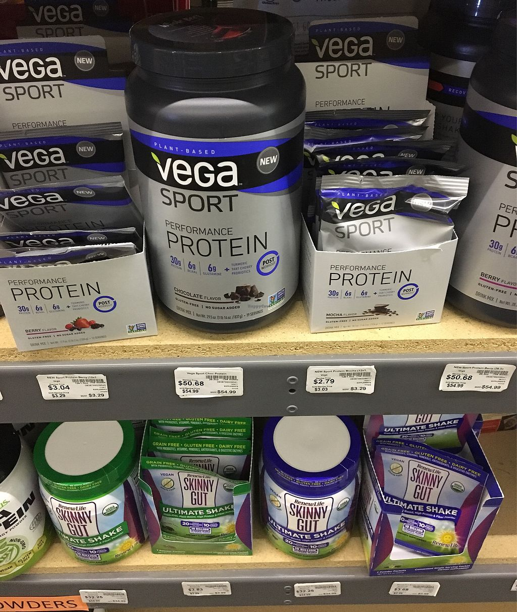 """Photo of Blue Water Natural Foods  by <a href=""""/members/profile/MaryAnneRohrdanz"""">MaryAnneRohrdanz</a> <br/>Some protein powders. There are some other supplements not shown <br/> November 22, 2017  - <a href='/contact/abuse/image/16506/327978'>Report</a>"""