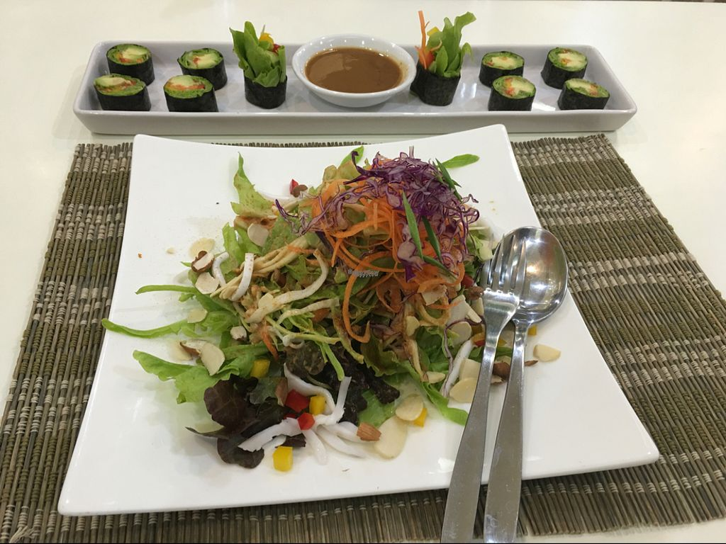 """Photo of CLOSED: Ariya's Organic Place  by <a href=""""/members/profile/SEK"""">SEK</a> <br/>Raw Phad Thai and Avocado sushi <br/> August 1, 2016  - <a href='/contact/abuse/image/16517/164092'>Report</a>"""