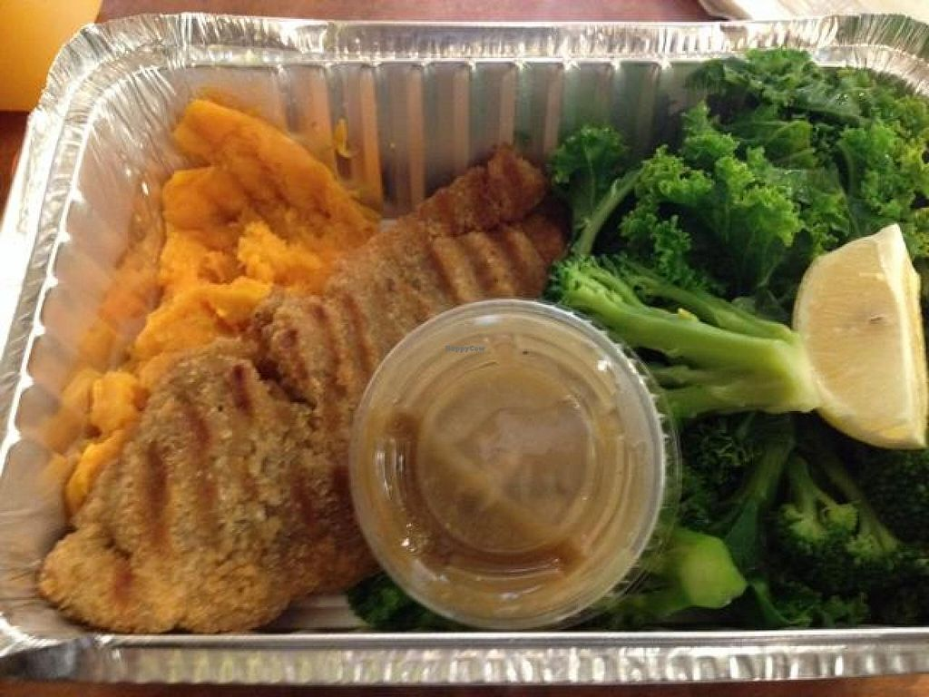 """Photo of The Green Bean Cafe  by <a href=""""/members/profile/vegan_ryan"""">vegan_ryan</a> <br/>tempeh with smashed sweet potatoes  <br/> August 27, 2014  - <a href='/contact/abuse/image/16543/78366'>Report</a>"""