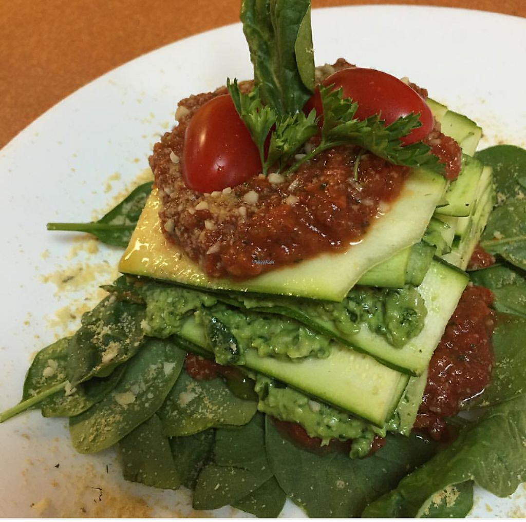 """Photo of Green Wave Cafe  by <a href=""""/members/profile/organicsweets"""">organicsweets</a> <br/>Raw Stacked Pesto Lasagna <br/> December 4, 2016  - <a href='/contact/abuse/image/16595/197193'>Report</a>"""