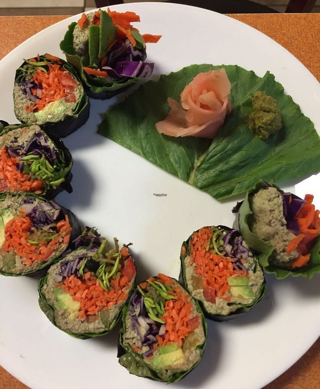 """Photo of Green Wave Cafe  by <a href=""""/members/profile/organicsweets"""">organicsweets</a> <br/>Raw Vegan Veggie Sushi Roll <br/> December 4, 2016  - <a href='/contact/abuse/image/16595/197231'>Report</a>"""