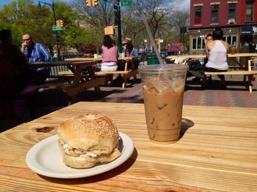 "Photo of CLOSED: s'Nice  by <a href=""/members/profile/happycowgirl"">happycowgirl</a> <br/>bagel w tofu cream cheese ~ outdoor seating <br/> May 3, 2014  - <a href='/contact/abuse/image/16631/69260'>Report</a>"
