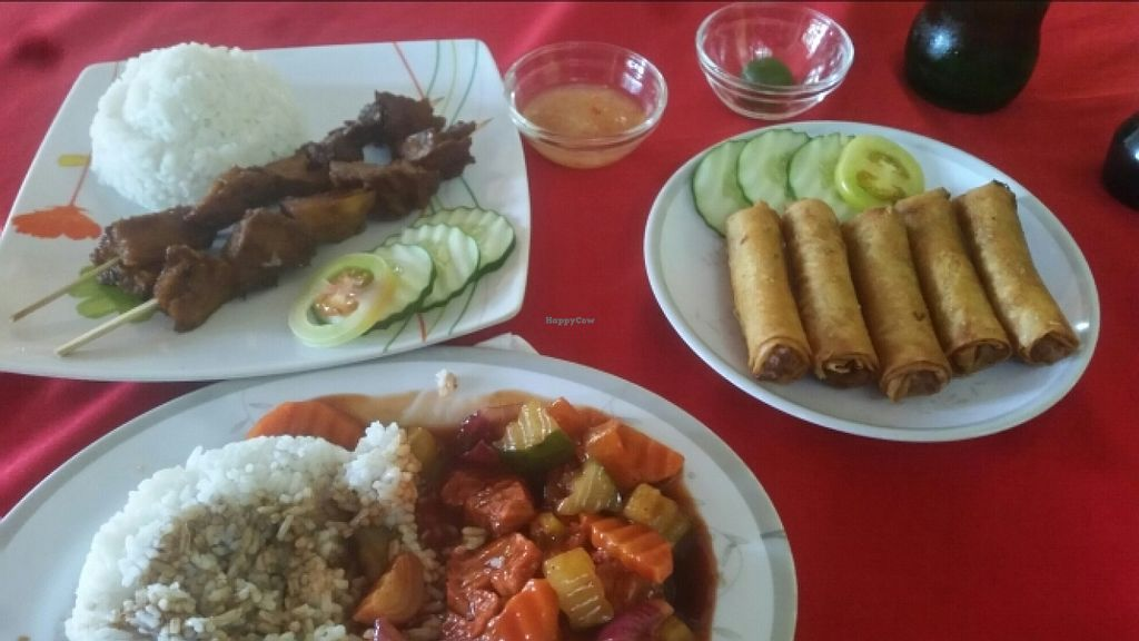 """Photo of Namaskar Vegetarian Restaurant  by <a href=""""/members/profile/Twism87"""">Twism87</a> <br/>bbq  rice, spring rolls, sweet sour egg plant <br/> December 9, 2015  - <a href='/contact/abuse/image/16638/127761'>Report</a>"""
