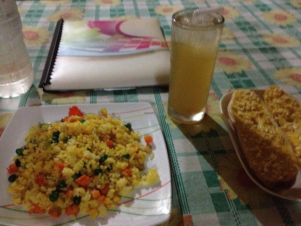 """Photo of Namaskar Vegetarian Restaurant  by <a href=""""/members/profile/Subi"""">Subi</a> <br/>fried rice, garlic bread, calamansi juice <br/> October 22, 2014  - <a href='/contact/abuse/image/16638/83607'>Report</a>"""
