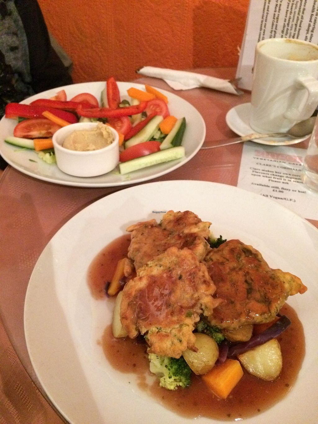 """Photo of Ginger Vegetarian Cafe  by <a href=""""/members/profile/Hoggy"""">Hoggy</a> <br/>Top dish - 'Strips and Dip'.  Bottom Dish - Specials Menu, Vegan 'Parsnip and Chive cakes with potatoes, vegetables and gravy' <br/> July 23, 2017  - <a href='/contact/abuse/image/16682/283771'>Report</a>"""