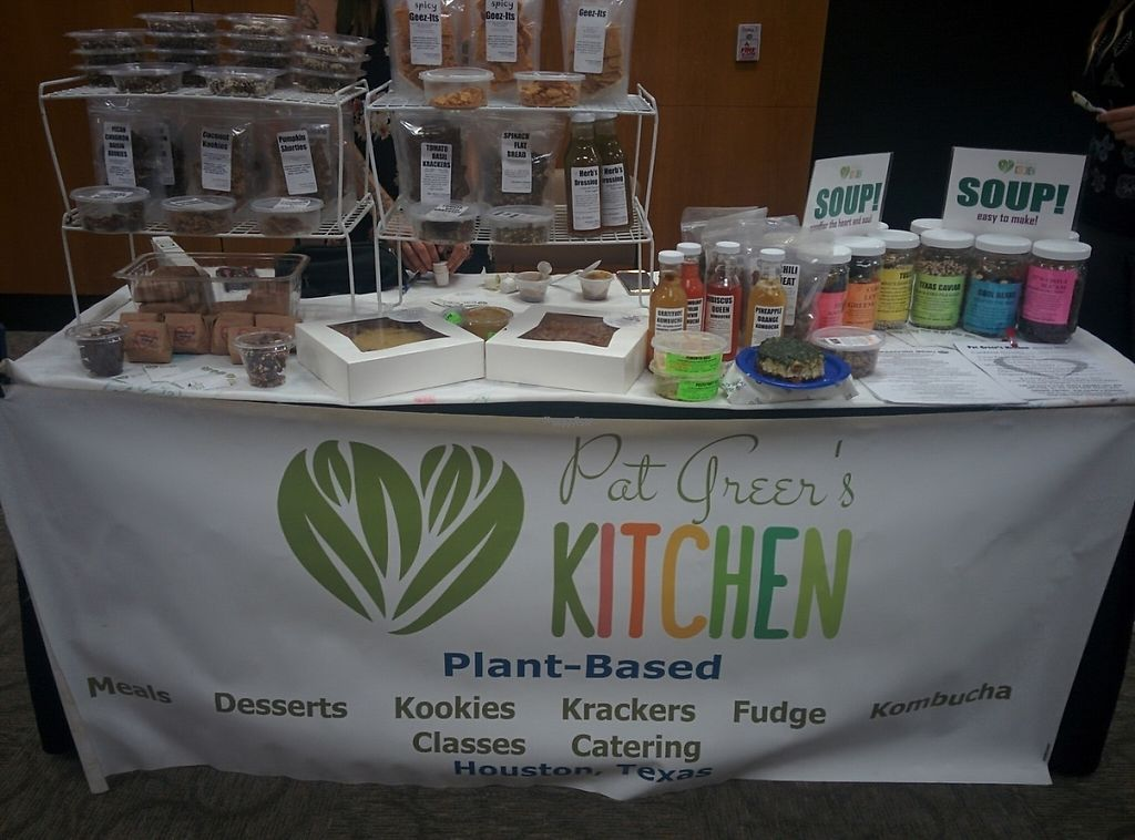 """Photo of Pat Greer's Kitchen  by <a href=""""/members/profile/MizzB"""">MizzB</a> <br/>Pat Greer's Kitchen market display. Kombucha, bean mixes, raw crackers, chips, & dips, raw & cooked desserts. All deliciously vegan of course! <br/> November 16, 2016  - <a href='/contact/abuse/image/16694/191019'>Report</a>"""