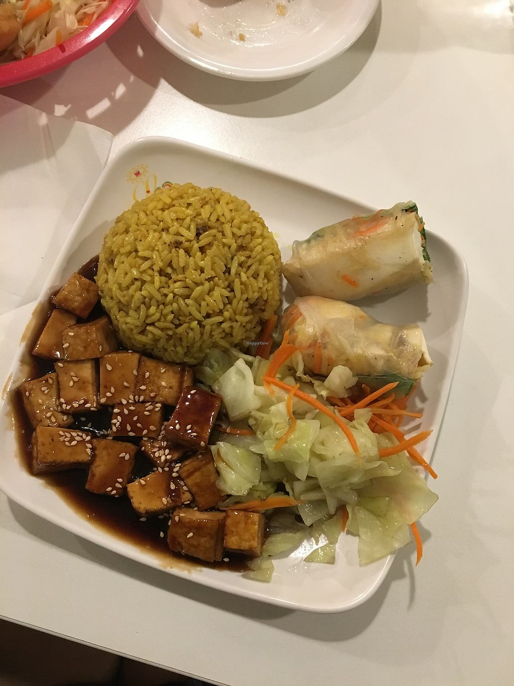 "Photo of Loving Hut  by <a href=""/members/profile/kaelashai"">kaelashai</a> <br/>Combo #1 mushroom tofu, yellow rice, and summer rolls <br/> November 12, 2017  - <a href='/contact/abuse/image/16703/324959'>Report</a>"