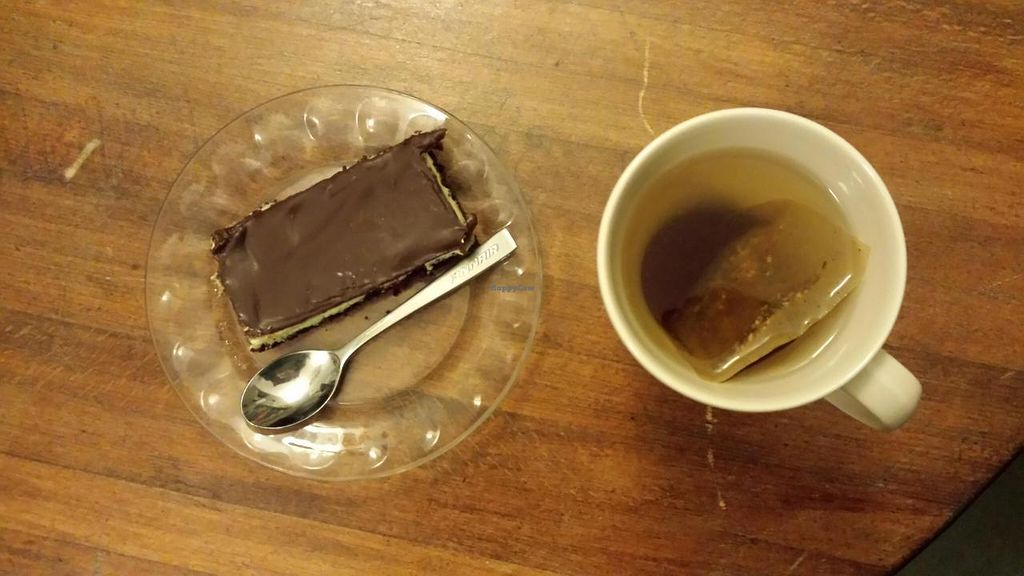 "Photo of Turun Kirjakahvila  by <a href=""/members/profile/aisteve_"">aisteve_</a> <br/>Mint brownie and ginger-apple tea <br/> November 20, 2014  - <a href='/contact/abuse/image/16818/86080'>Report</a>"