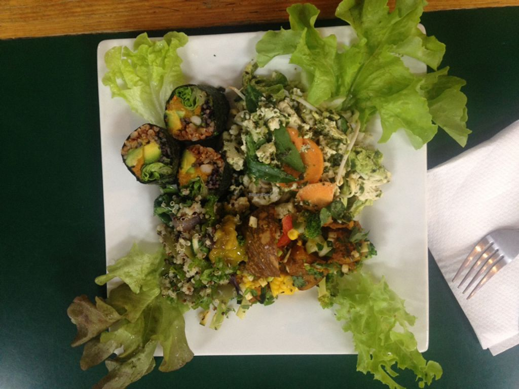 """Photo of Snoogies Health Bar  by <a href=""""/members/profile/jesse558"""">jesse558</a> <br/>Delicious! Tofu curry, nori roll?? and salads. all the layers <br/> May 2, 2016  - <a href='/contact/abuse/image/16889/147188'>Report</a>"""