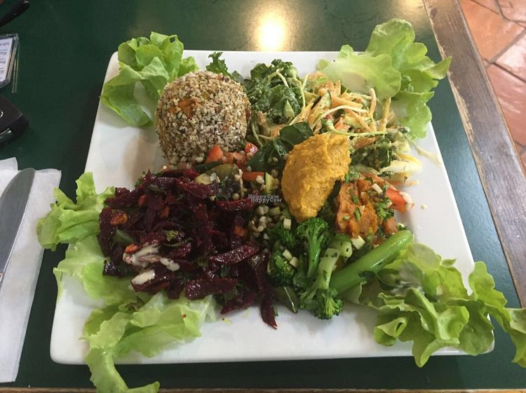 """Photo of Snoogies Health Bar  by <a href=""""/members/profile/Veganbuby"""">Veganbuby</a> <br/>Rice ball with a variety of salads - all vegan and tasty!  <br/> October 27, 2016  - <a href='/contact/abuse/image/16889/184656'>Report</a>"""