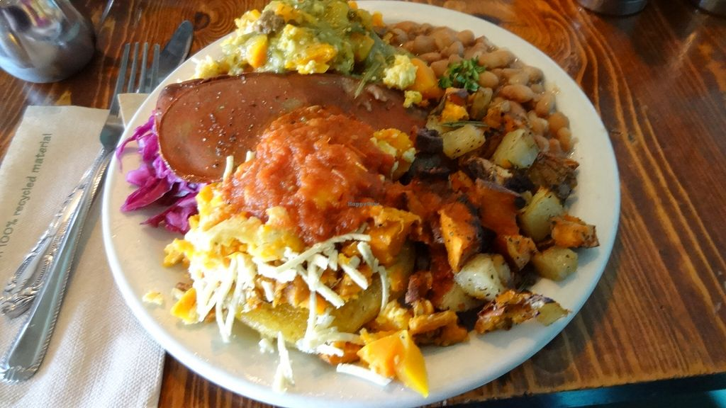 """Photo of Bandidas Taqueria  by <a href=""""/members/profile/vegancookbookaddict"""">vegancookbookaddict</a> <br/>Lester's benny made vegan (tofu and squash instead of eggs; vegan cheese) - on of my favourite brunch dishes in Vancouver!  The veggie bacon was completely unnecessary as this was a ton of food <br/> August 18, 2015  - <a href='/contact/abuse/image/16939/114158'>Report</a>"""