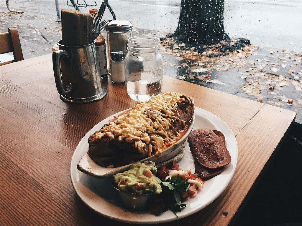 """Photo of Bandidas Taqueria  by <a href=""""/members/profile/JessicaKlose"""">JessicaKlose</a> <br/>Vegan breakfast burrito baked with gauc and a side of veggie bacon <br/> October 21, 2017  - <a href='/contact/abuse/image/16939/317312'>Report</a>"""