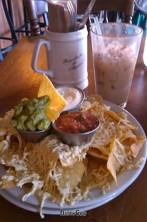 """Photo of Bandidas Taqueria  by <a href=""""/members/profile/kimward8"""">kimward8</a> <br/>Vegan nachos with daiya mozzarella and homemade vegan sour cream, and a soy horchata drink <br/> January 14, 2013  - <a href='/contact/abuse/image/16939/42910'>Report</a>"""
